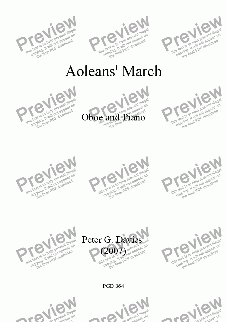 page one of Aoleans' March for Oboe and PianoASALTTEXT