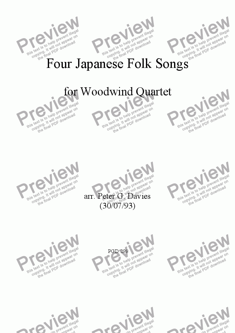 page one of Four Japanese Folk Songs for Woodwind Quartet