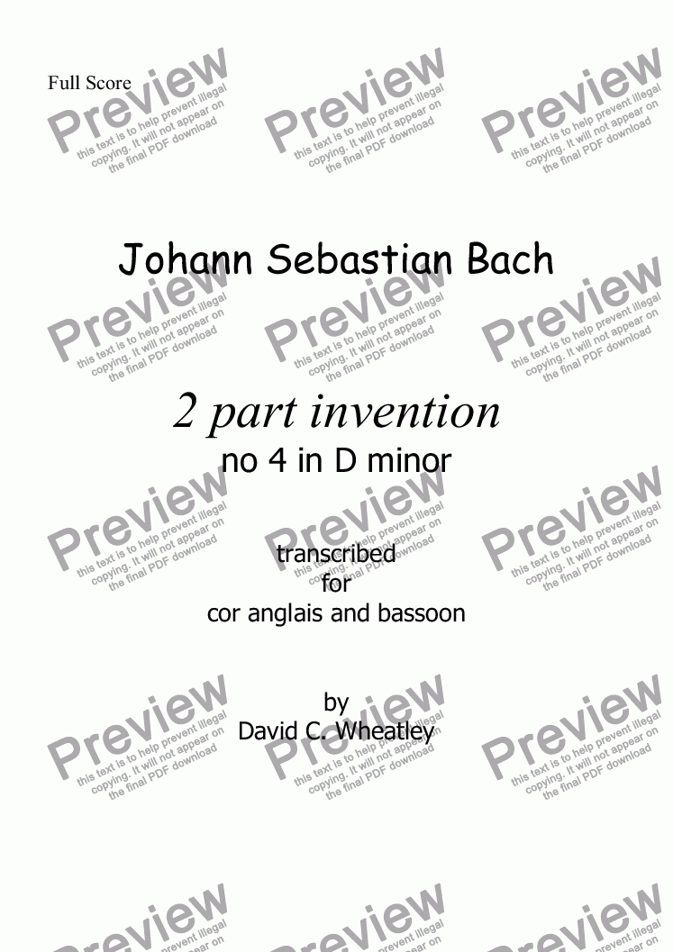 page one of Bach - 2 part invention no 4 transcribed for cor anglais and bassoon by David Wheatley
