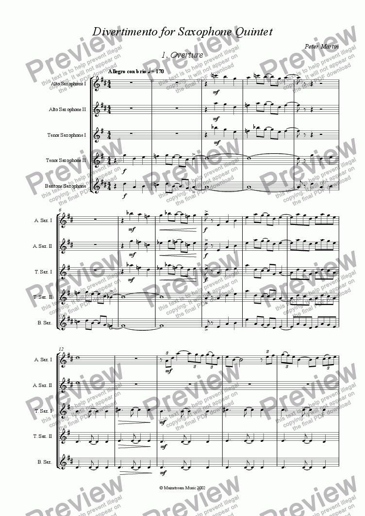 page one of Divertimento for Saxophone Quintet