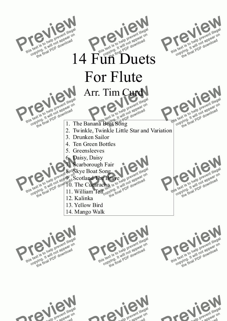 page one of 14 Fun Duets For Flute