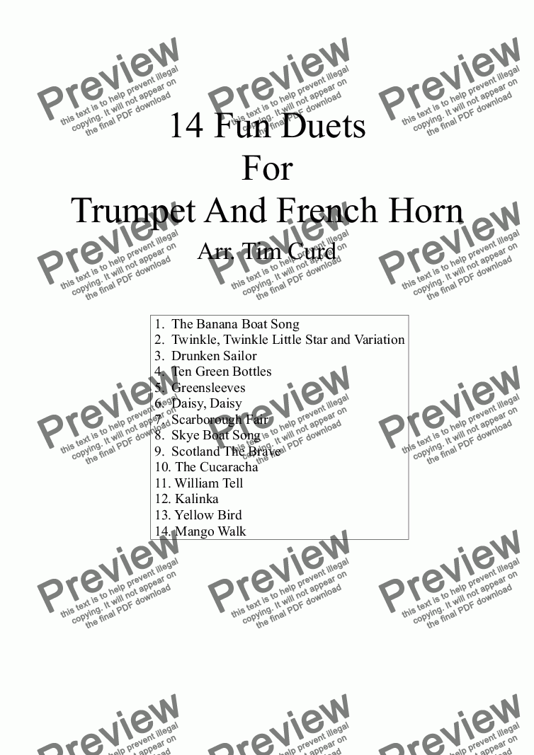 page one of 14 Fun Duets For Trumpet And French HornASALTTEXT