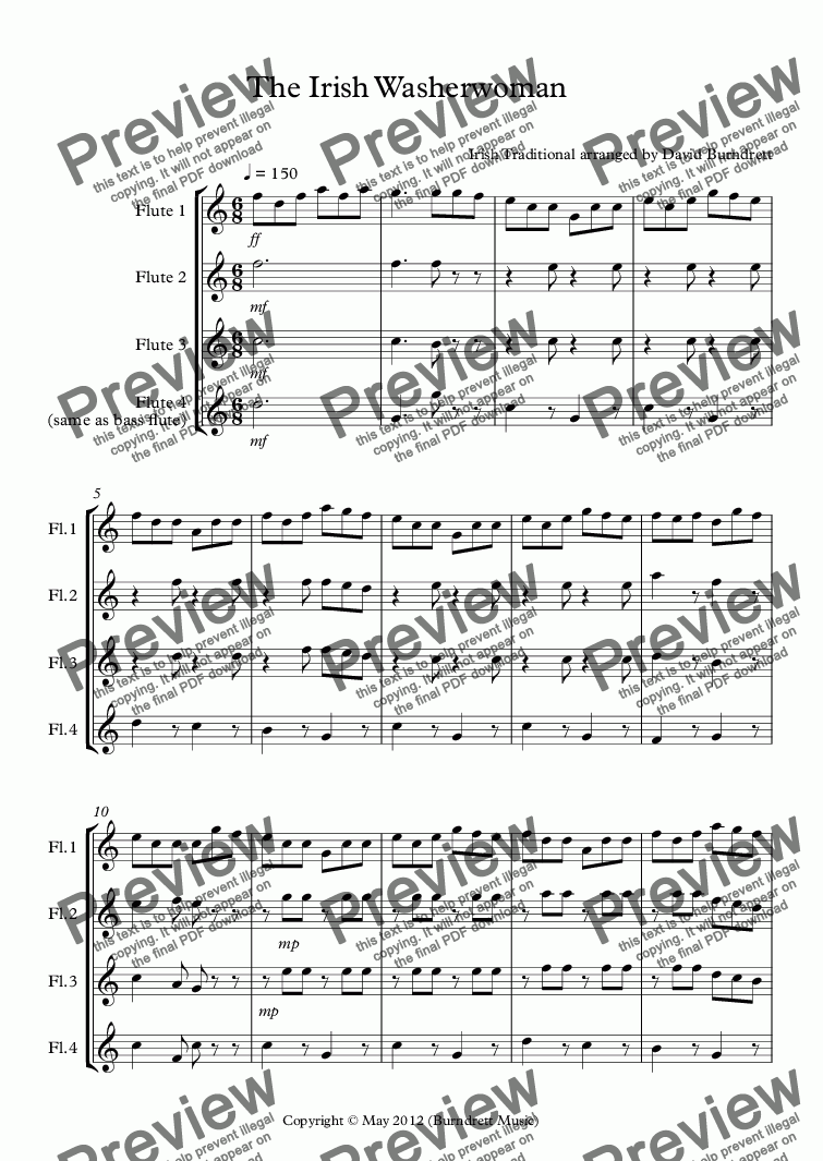 page one of The Irish Washerwoman for Flute QuartetASALTTEXT