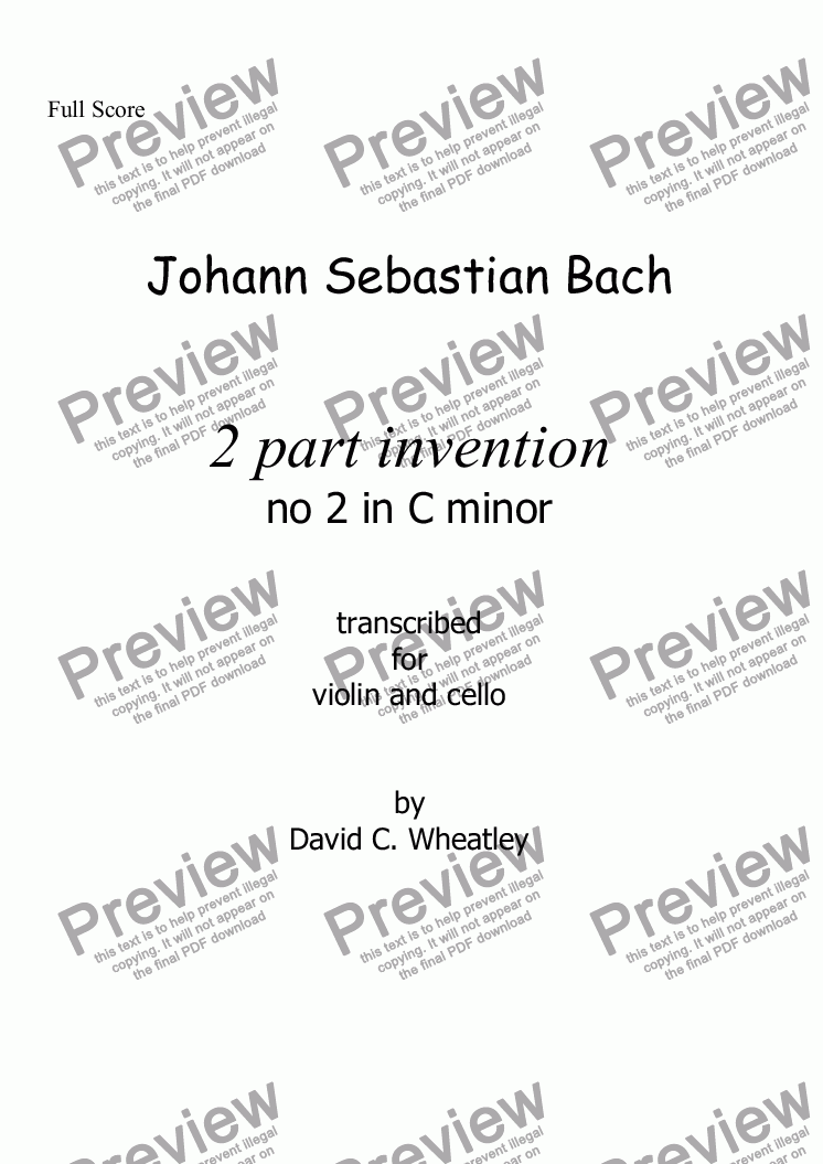 page one of Bach - 2 part invention no 2 transcribed for violin and cello by David Wheatley
