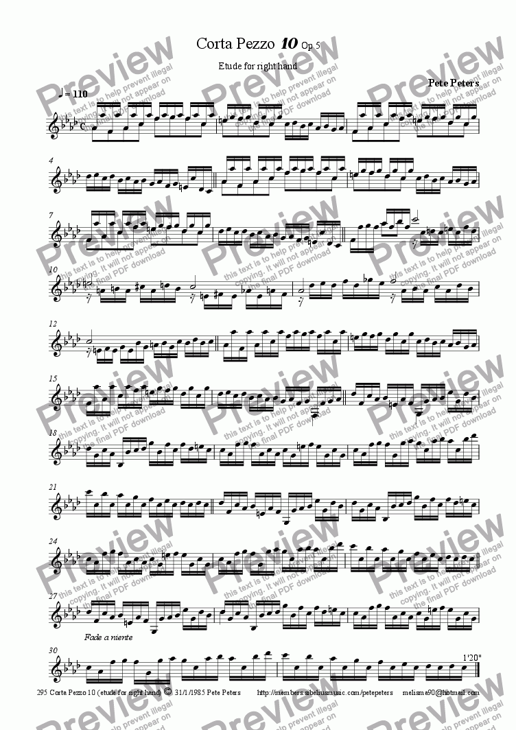 page one of Corta Pezzo 10 (etude for right hand) Piano