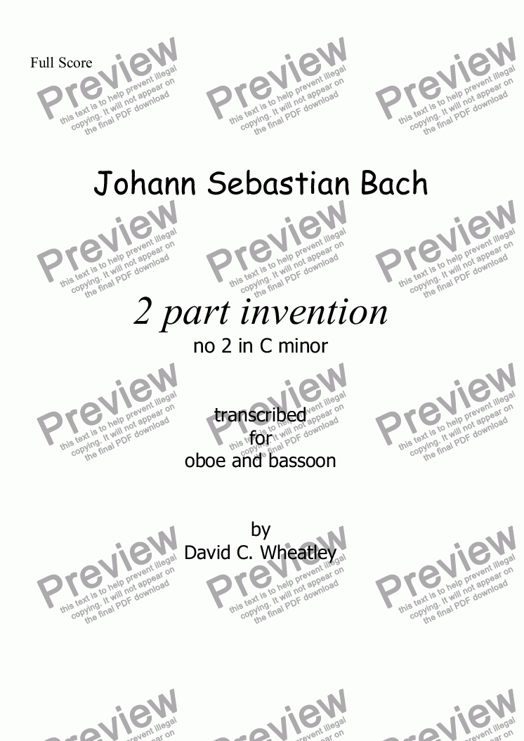 page one of Bach 2 part invention no 2 transcribed for oboe and bassoon by David WheatleyASALTTEXT
