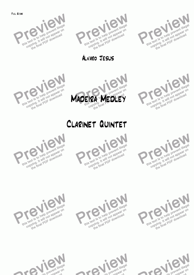 page one of Madeira Medley (Clarinet Quintet)