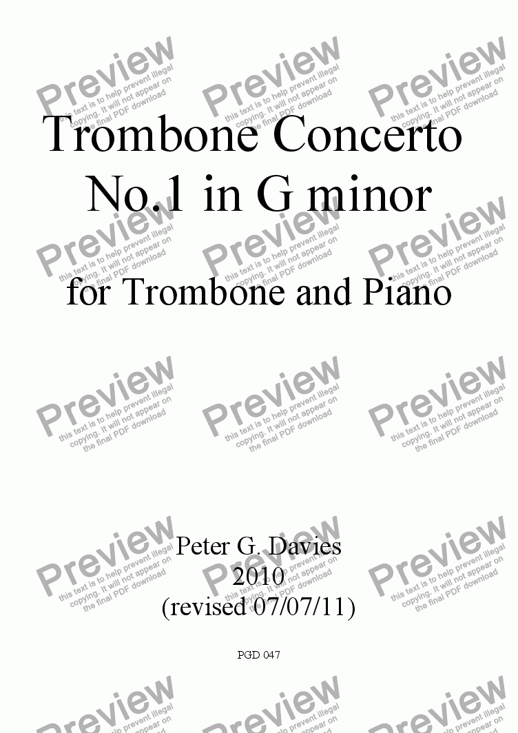 page one of Trombone Concerto No.1 in G minor