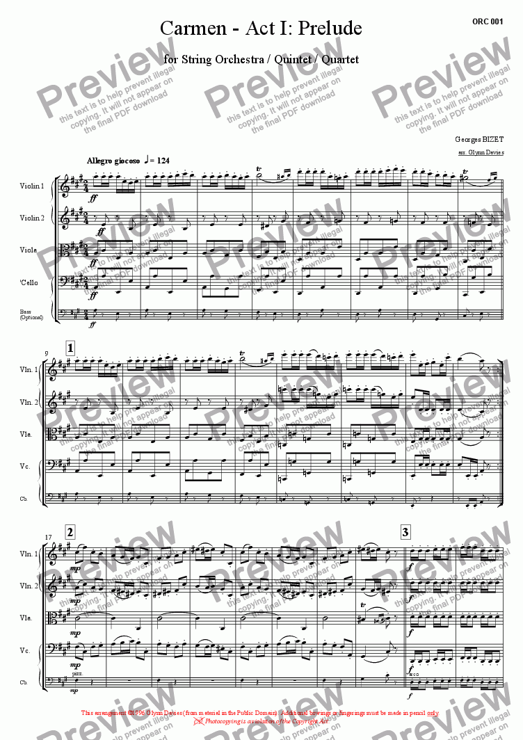 page one of Carmen - Act 1: Prelude