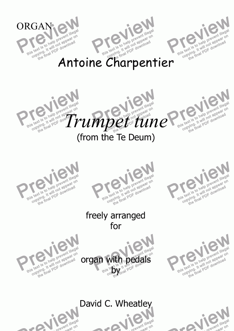 page one of Trumpet Te Deum (Charpentier) for organ solo (more difficult version)