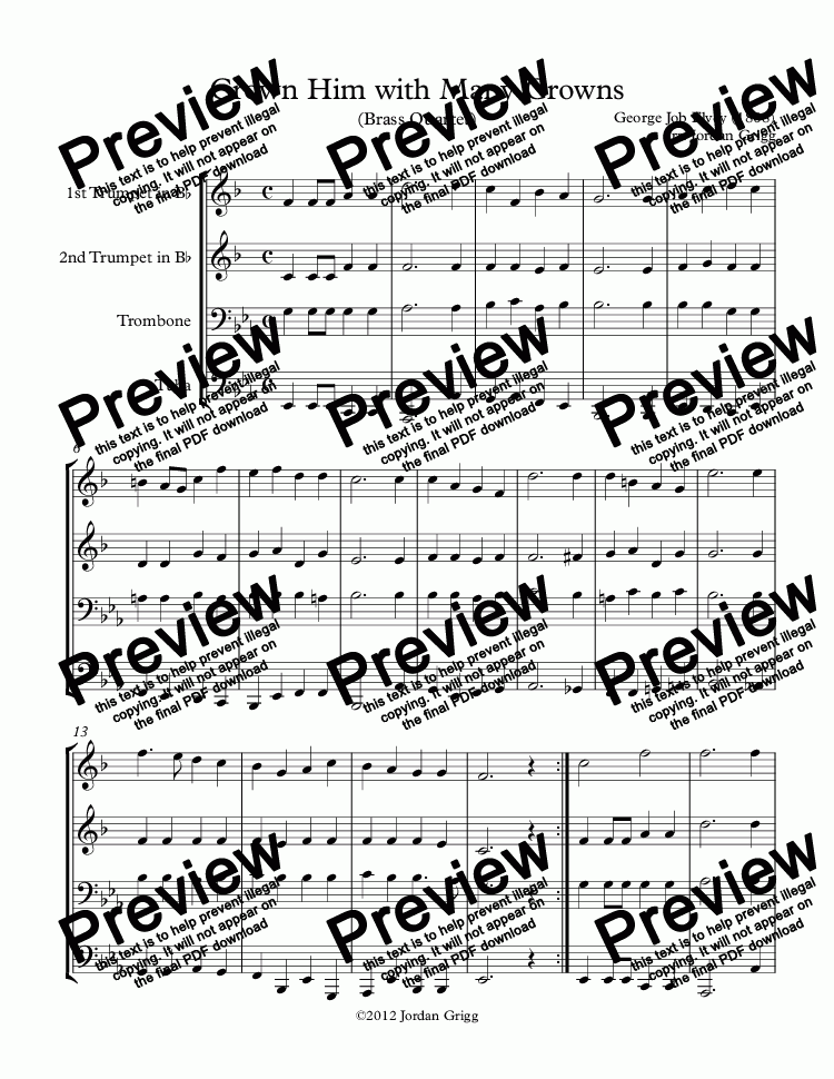 page one of Crown Him with Many Crowns (Brass Quartet)