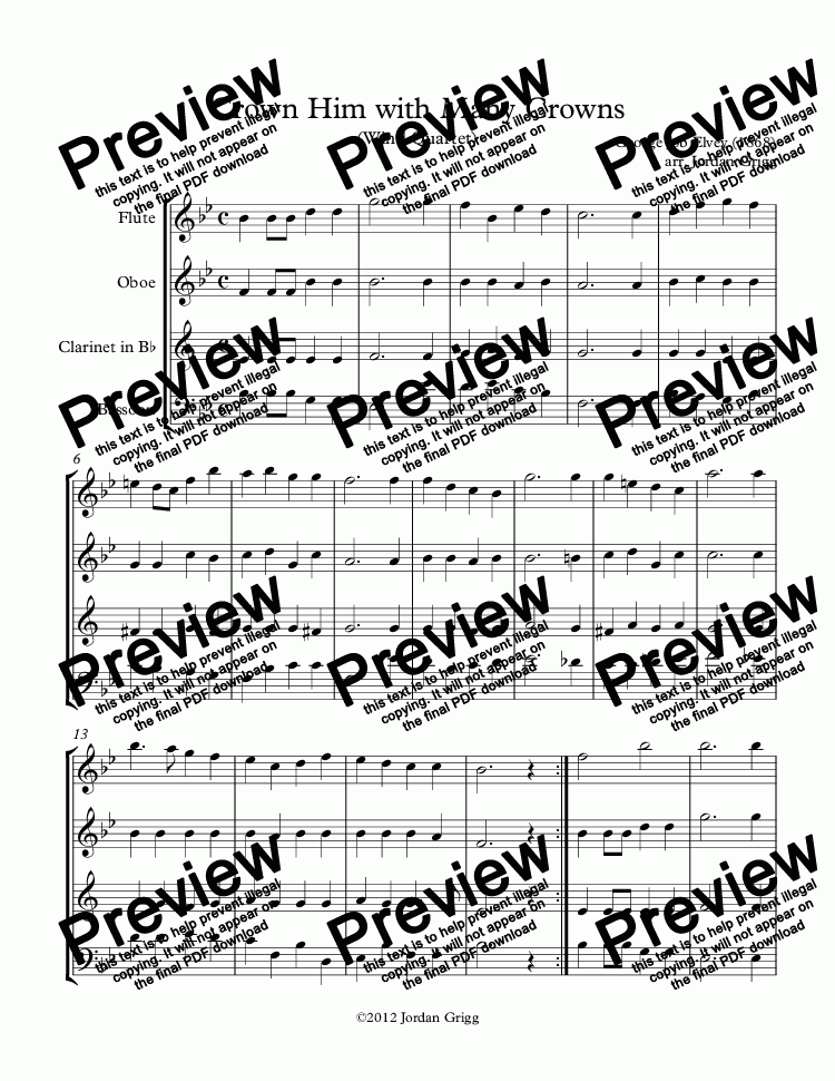 page one of Crown Him with Many Crowns (Wind Quartet)