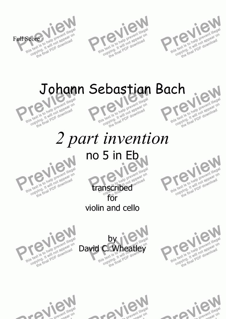 page one of Bach - 2 part invention no 5 transcribed for violin and cello by David Wheatley