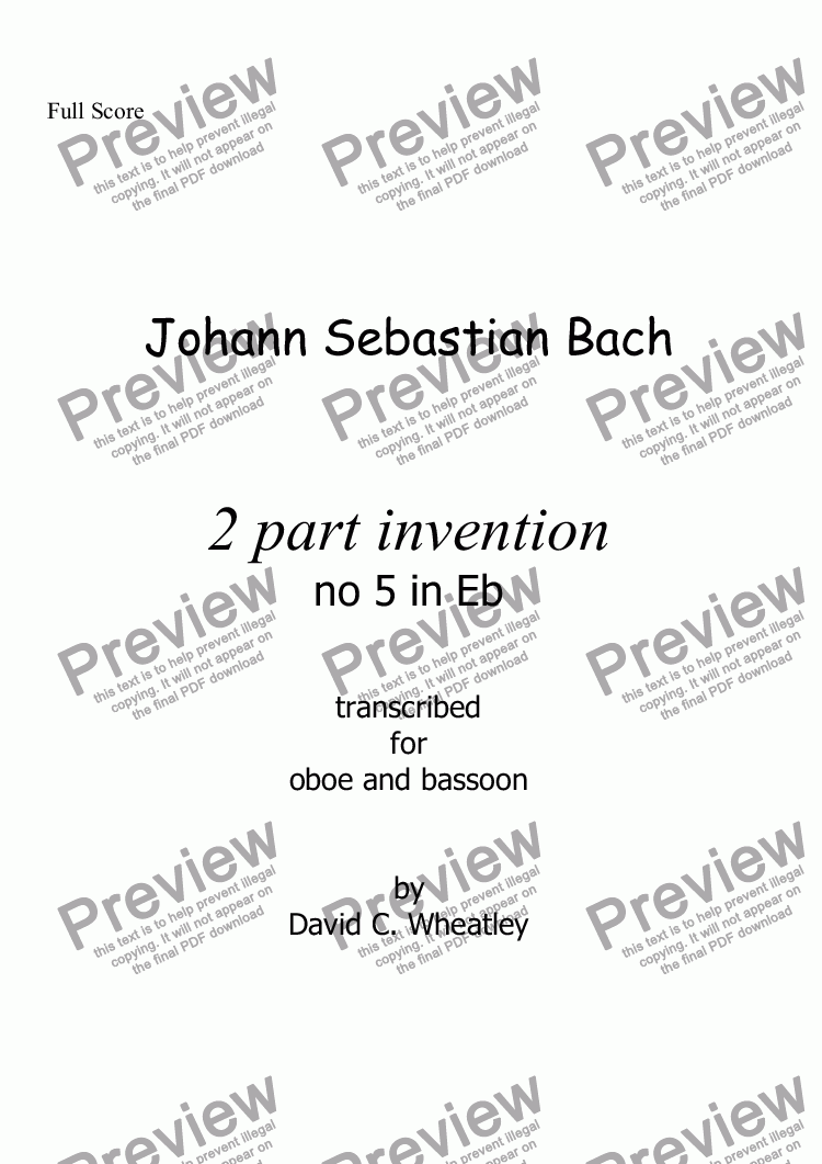 page one of Bach - 2 part invention no 5 transcribed for oboe and bassoon by David Wheatley