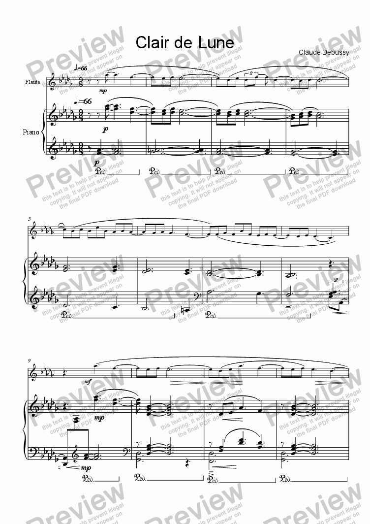page one of Debussy, Clair de Lune flute & piano