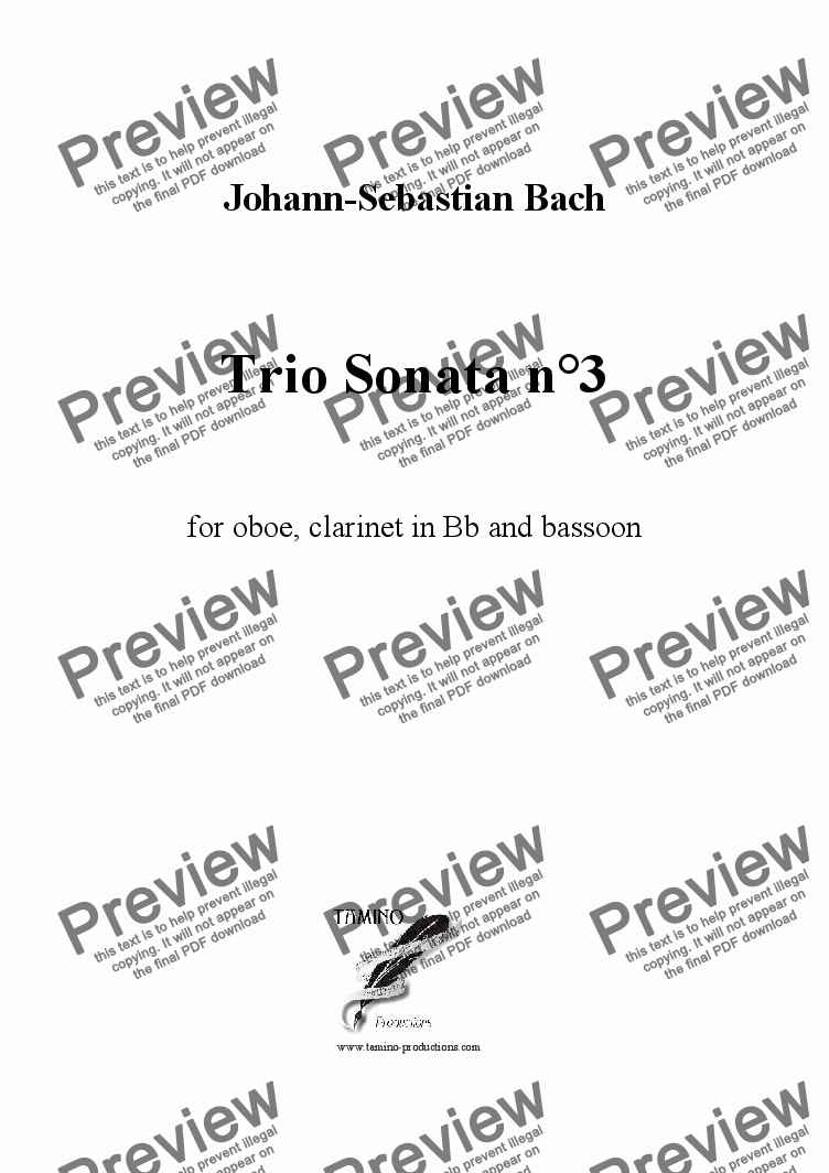 page one of Bach: Sonata n°3 in D minor BWV 528 for oboe, clarinet and bassoon