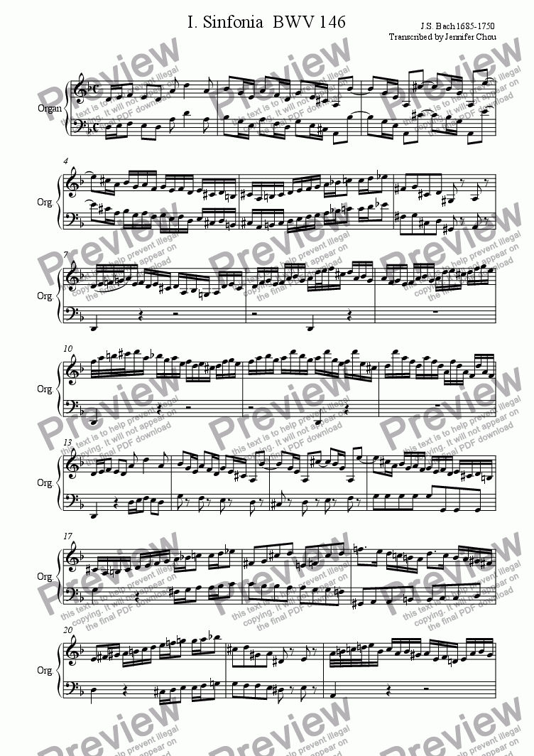 page one of I. Sinfonia  BWV 146