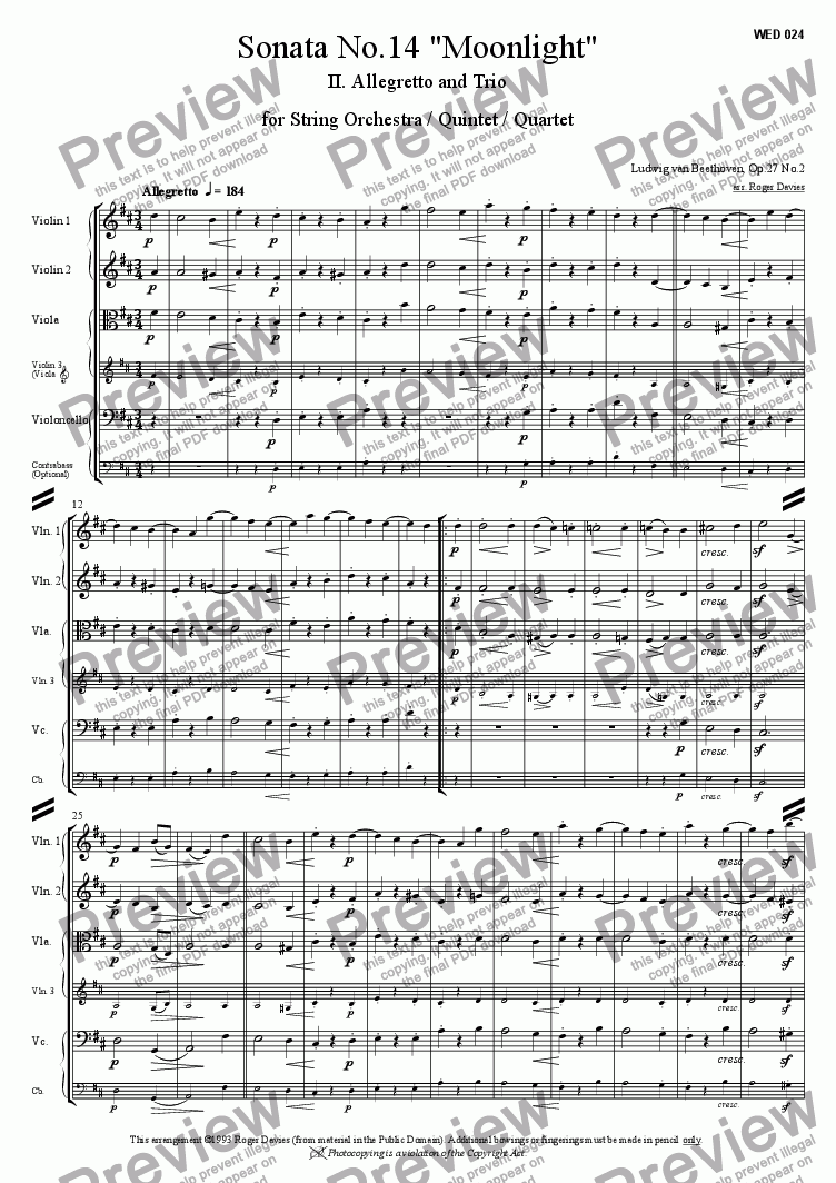 "page one of Piano Sonata No.14 ""Moonlight"" - 2. Allegretto"
