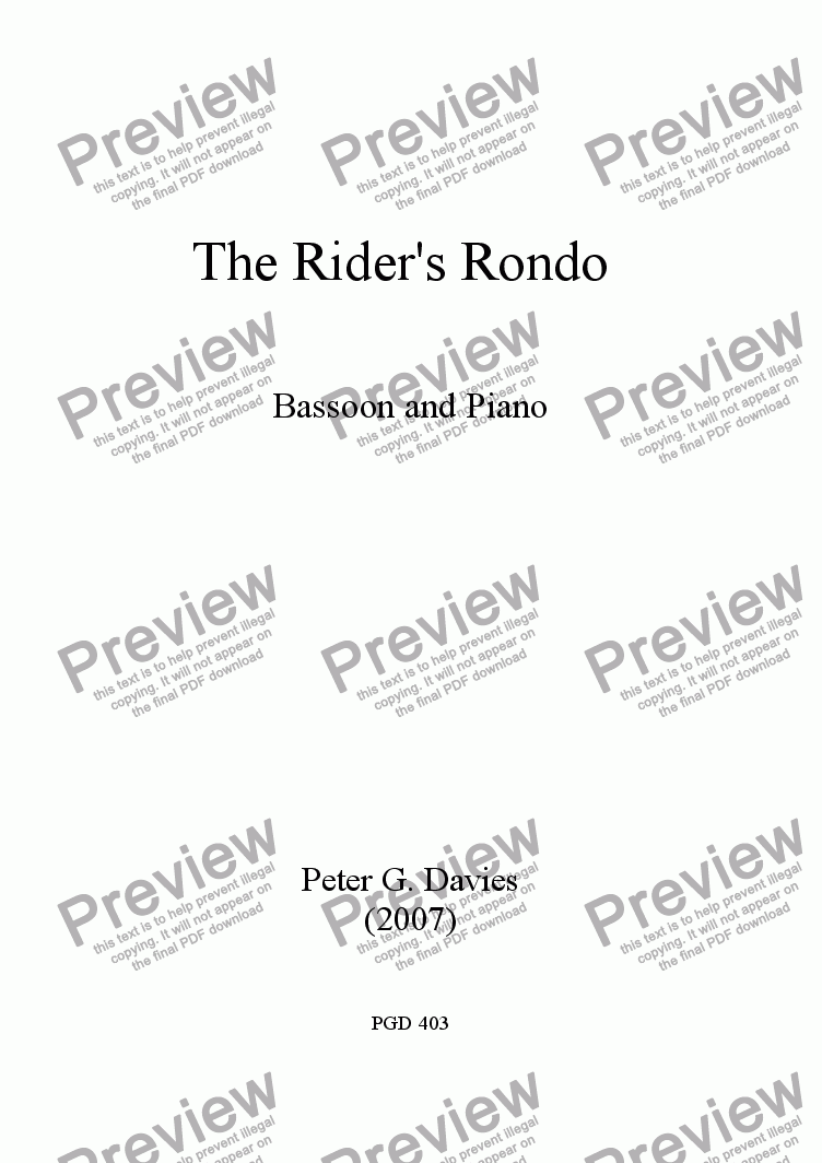 page one of The Rider's Rondo for Bassoon and Piano