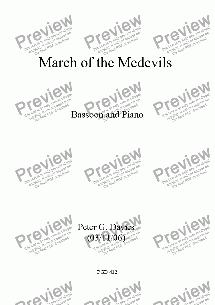 page one of March of the Medevils for Bassoon and PianoASALTTEXT