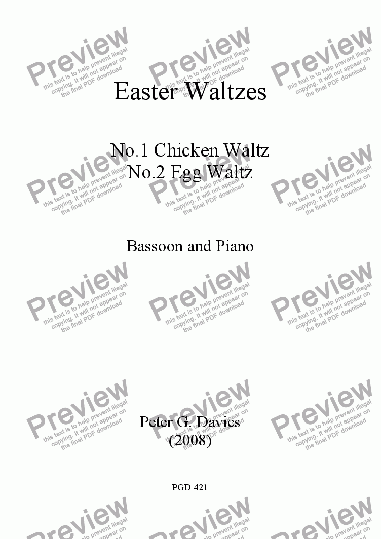 page one of Easter Waltzes Nos.1 and 2 for Bassoon and PianoASALTTEXT