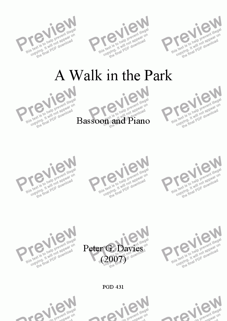 page one of A Walk in the Park for Bassoon and Piano