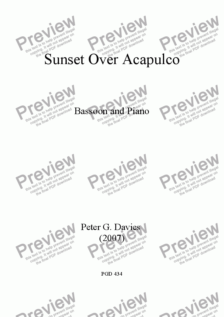 page one of Sunset Over Acapulco for Bassoon and PianoASALTTEXT