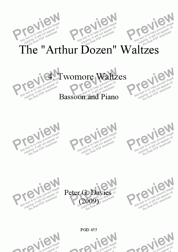 "page one of The ""Arthur Dozen"" Waltzes 4. Twomore Waltzes for Bassoon and Piano"