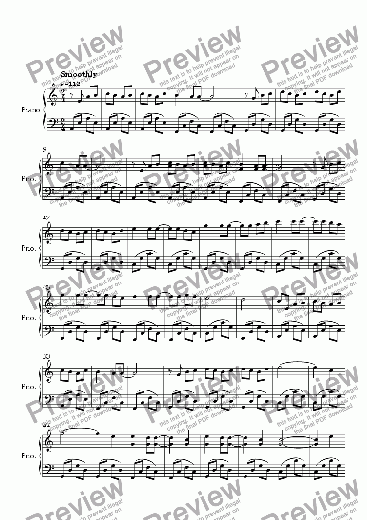 page one of Sarina's Theme Song