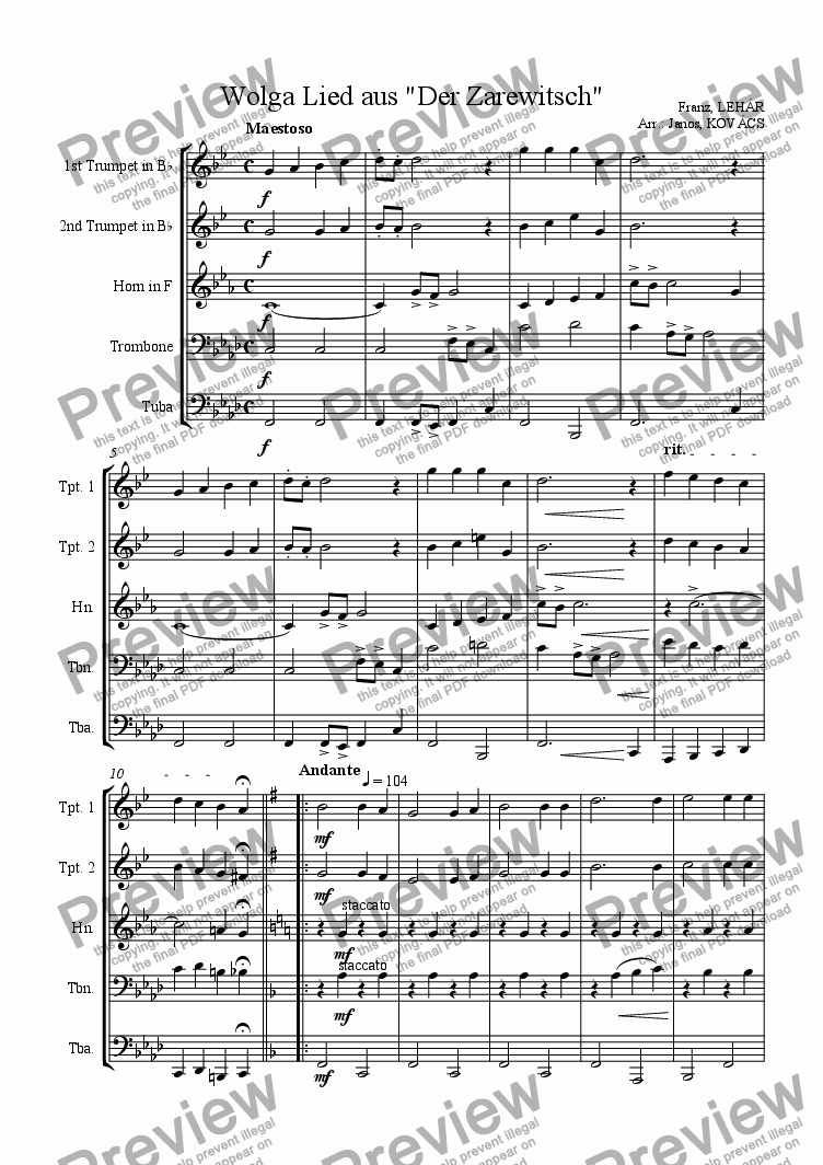 "page one of Wolga Lied aus ""Der Zarewitsch"""