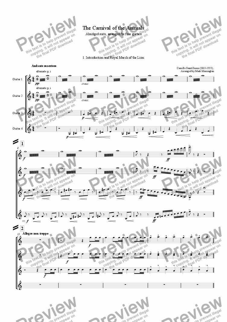 page one of The Carnival of the Animals (Guitar Quartet)