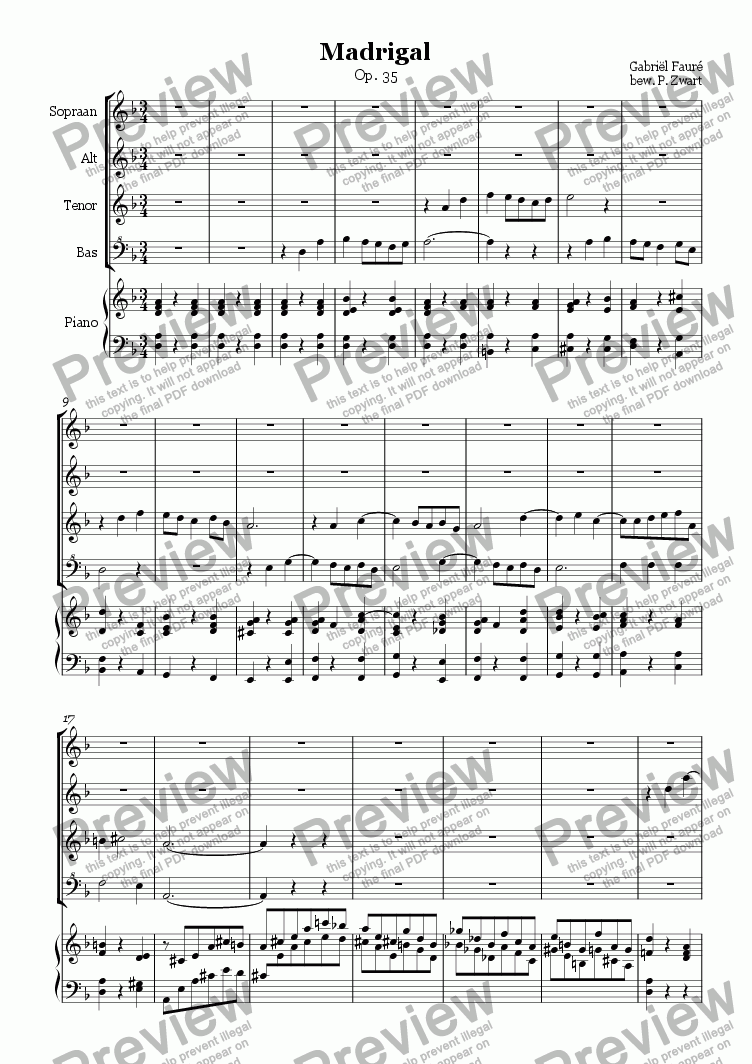 page one of Madrigal Op.35 (Faure)
