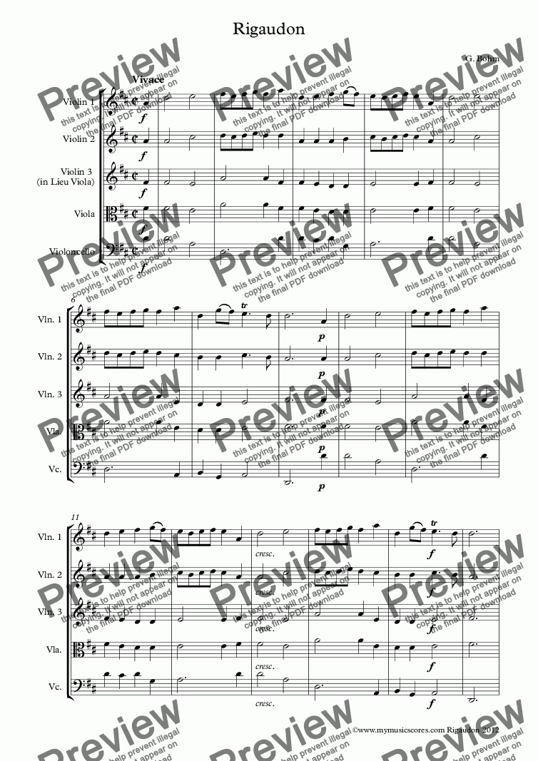 page one of Bohm Rigaudon for String Quartet