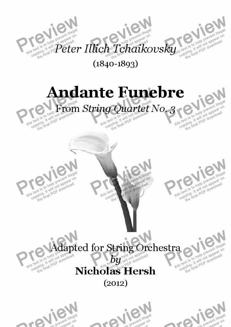 page one of Andante Funebre