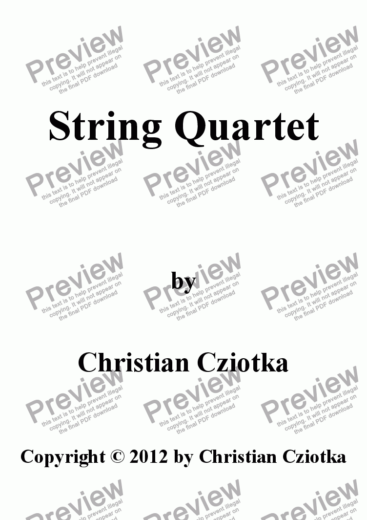 page one of String Quartet