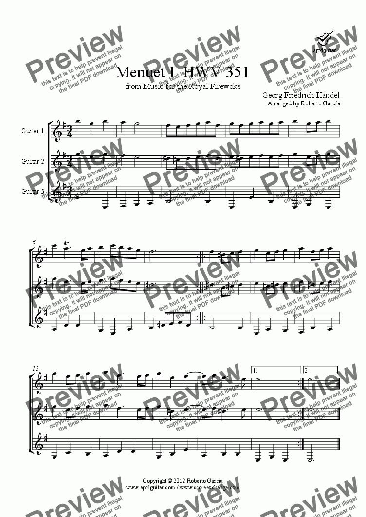 page one of Menuet I  HWV 351 for guitar trio