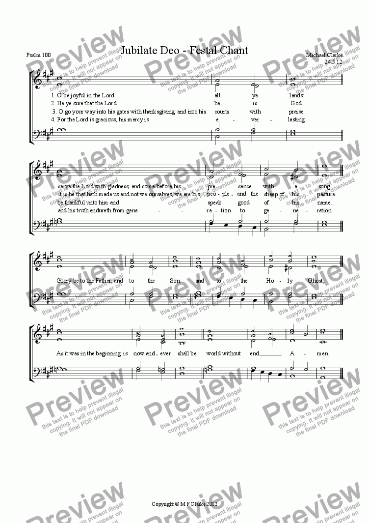 page one of Jubilate Deo (Psalm 100) - Festal ChantASALTTEXT