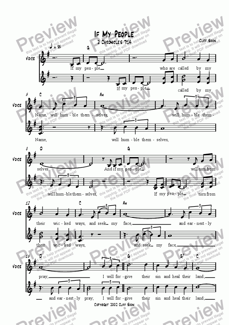 If My People (Lead sheet) for Leadsheets by Cliff Soon - Sheet Music PDF  file to download