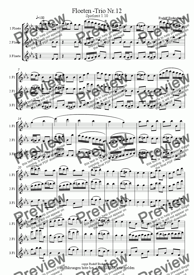 page one of Floeten -Trio Nr.12