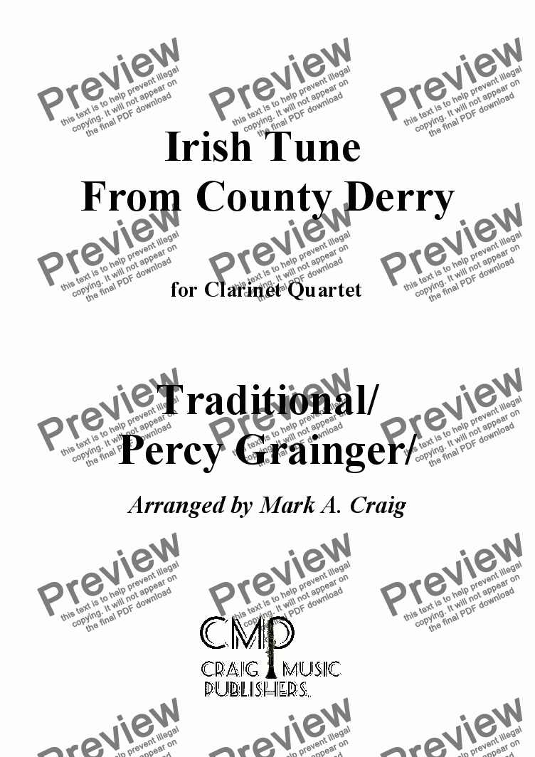 page one of Grainger: Irish Tune from County Derry - for CQ