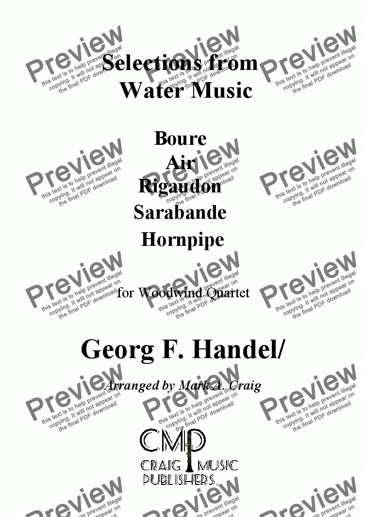 page one of Handel: Selections From Water Music - WWQrt