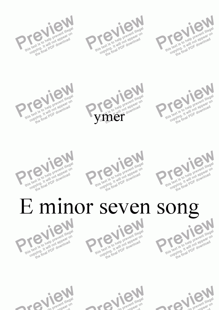 page one of E minor seven song