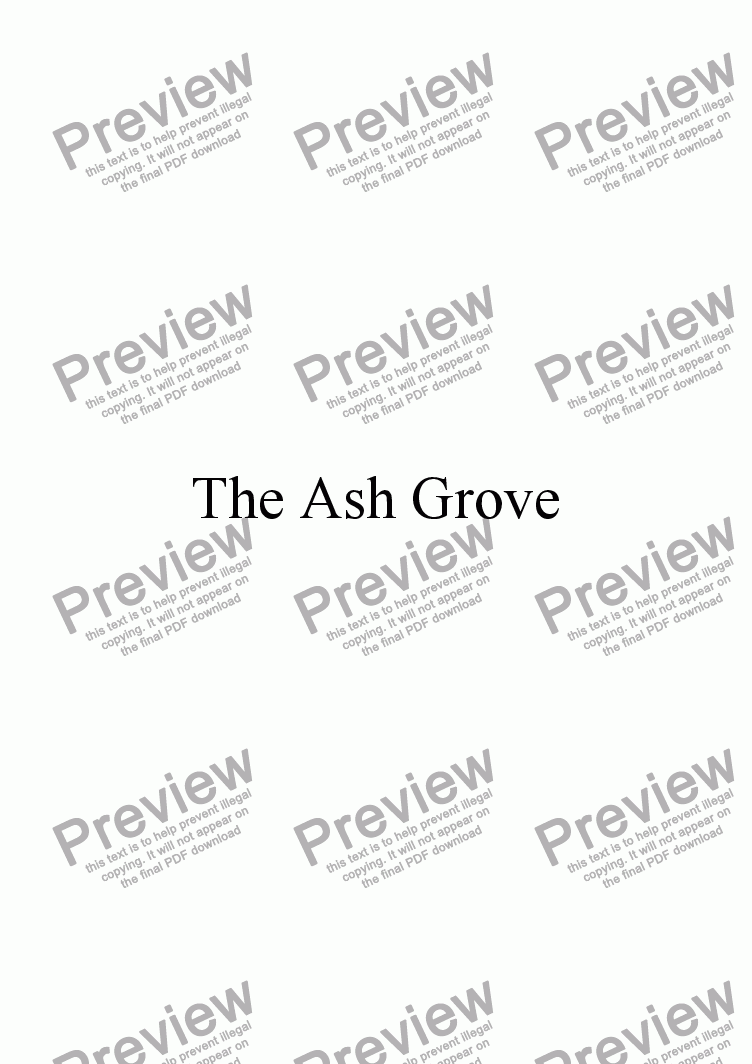 page one of The Ash Grove (Welsh language version)ASALTTEXT