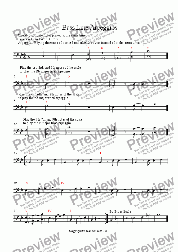 page one of Rock Bass Line Arpeggios