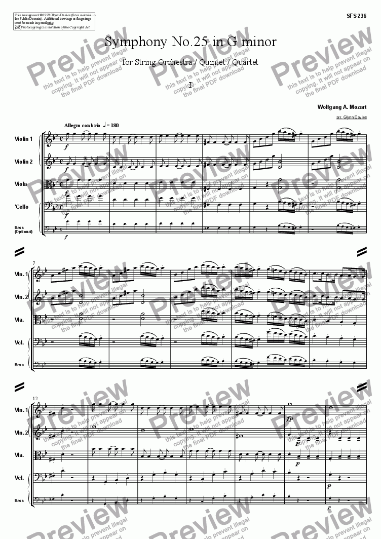 page one of Symphony No.25 - 1. Allegro con brioASALTTEXT
