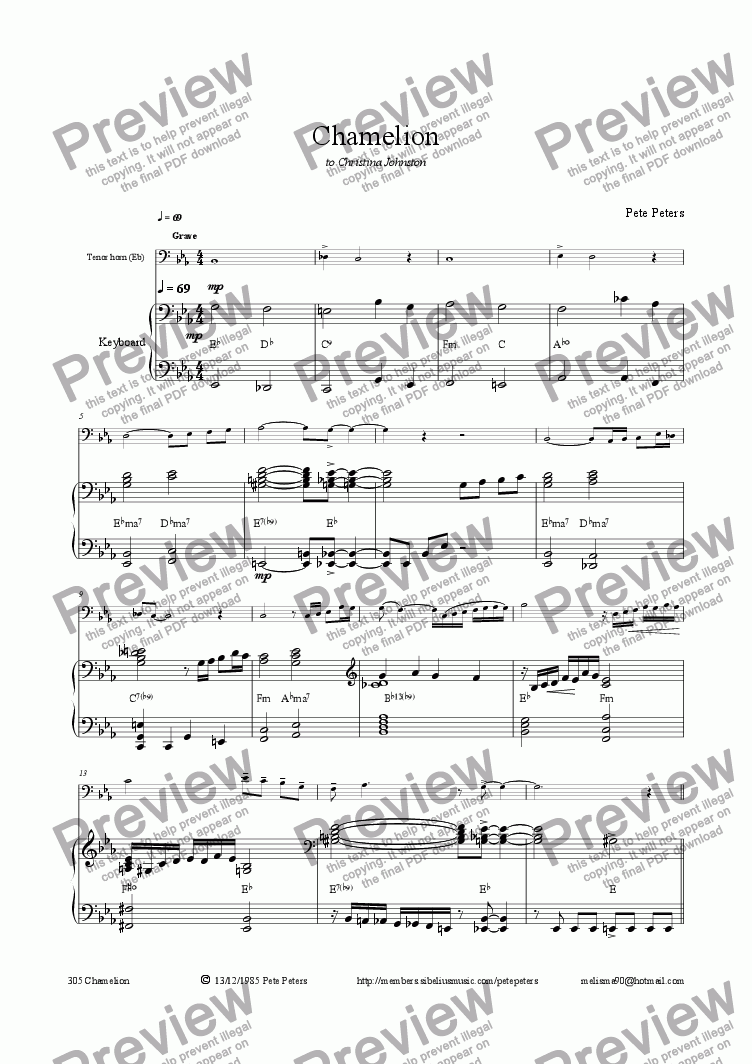 page one of Chamelion (Eb Horn)