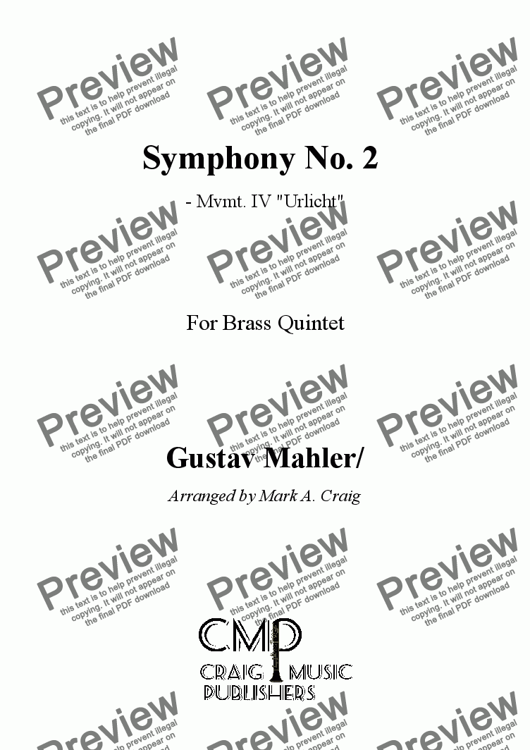 page one of Mahler: Symphony Nr. 2  Mvmt. IV -