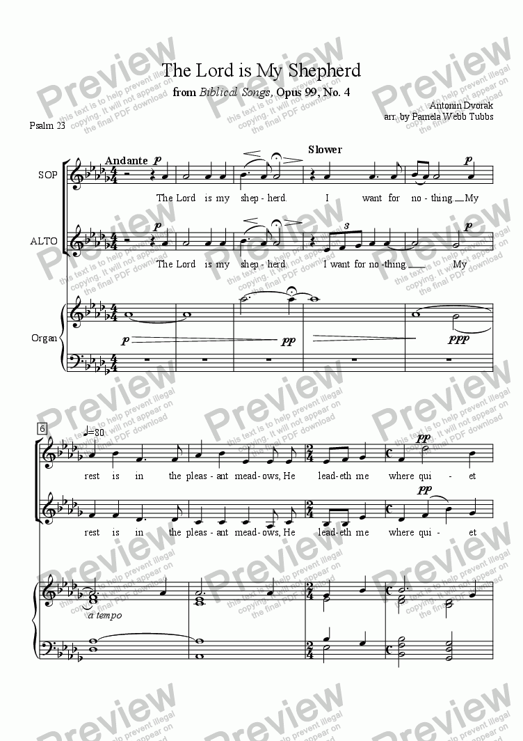 page one of The Lord is My Shepherd (DVORAK) (Psalm 23) 2-part treble voices vocal duet (e.g., Soprano-Alto) with organ accompaniment, arr. by Pamela Webb TubbsASALTTEXT