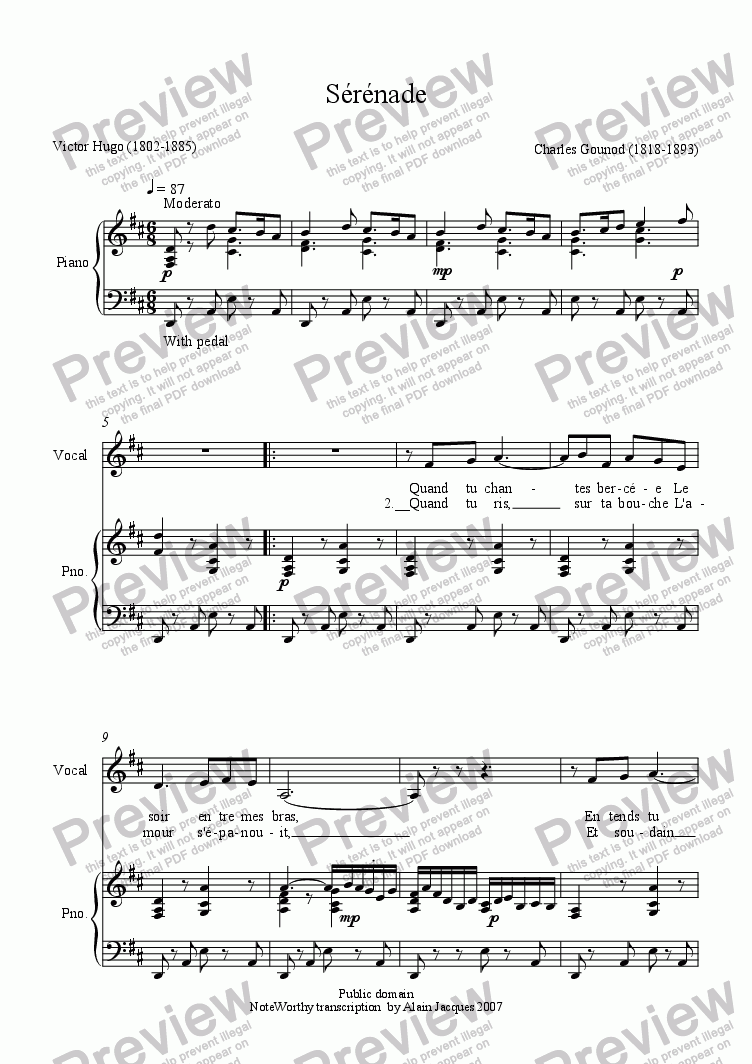 page one of Sérénade (Charles Gounod / Victor Hugo)