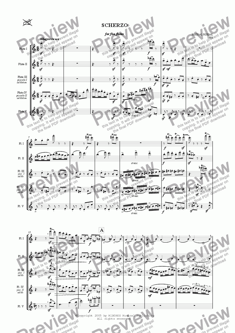 page one of SCHERZO for five flutes